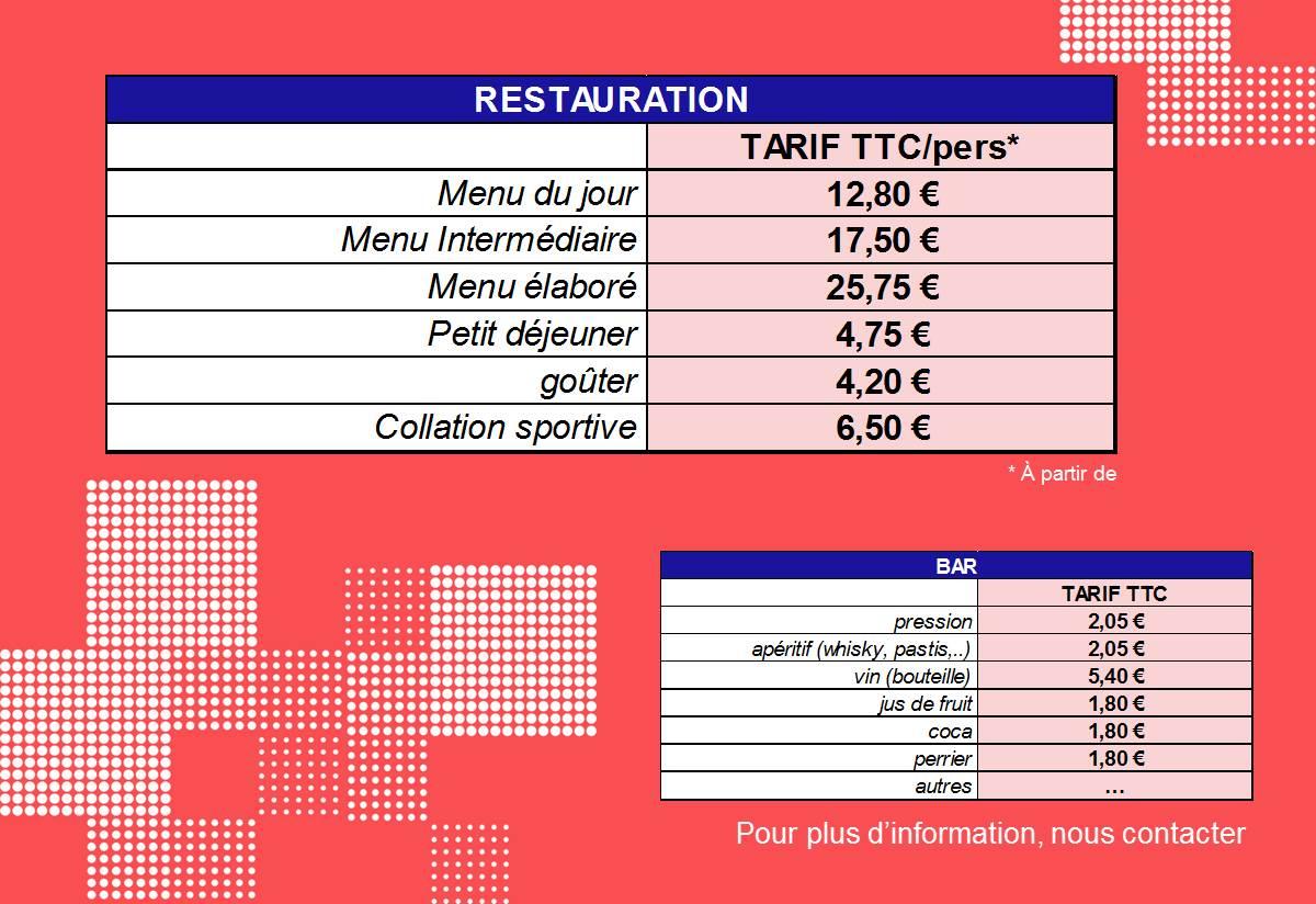 tarifs restaurant bar Port Jérome sur seine Gravenchon Normandie