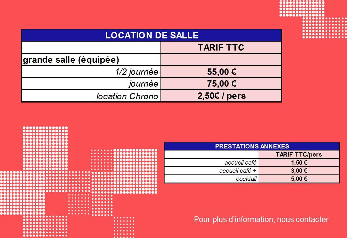 tarifs location de salle Port Jérome sur seine Gravenchon Normandie