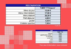 tarifs restaurant bar Gravenchon Normandie Port Jérome sur seine